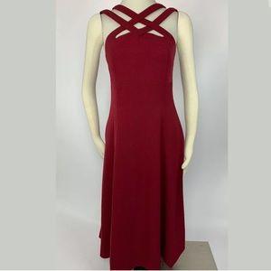 J Peterman Maroon Criss Cross Dress Size 6
